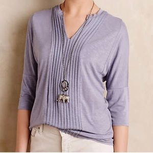 Anthro Dolan Lavender Pleated Top 3/4 Length